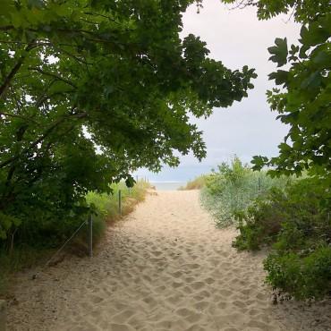 Zwischen Lobbe und Thiessow gibt es noch Strandabgänge, die man nur mit Fahrrad oder zu Fuß erreicht. Da ist es auch im Juli nicht so voll.
